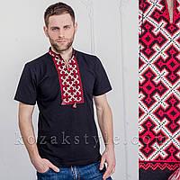 """Футболка чоловіча вишита """"Козацький хрест"""" чорна з червоною вишивкою, фото 1"""