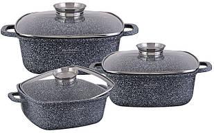 Набор посуды Edenberg с гранитным покрытием из 6 предметов Серый (EB-8030)