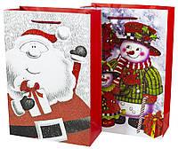 Пакет Подарочный большой вертикальный новогодний с глитером. mix