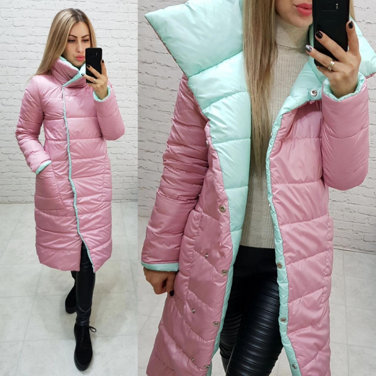 Пальто одеяло евро-зима двустороннее арт. 1006 розовая пудра + ментол