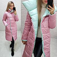 Пальто одеяло евро-зима двустороннее арт. 1006 розовая пудра + ментол, фото 1