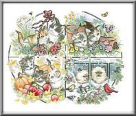 Схема для вышивки Кошки. Времена года.