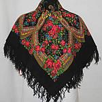 """Платок шерстяной с шерстяной бахромой """"Вечерок"""", 89x89 см, фото 4"""