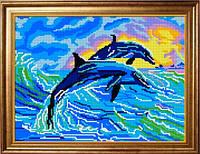 """Схема для вышивки крестом """"Дельфины"""""""
