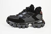 Кроссовки зимние Prada (реплика) 0058 черные