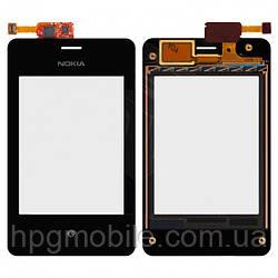 Сенсорный экран для Nokia Asha 502 Dual Sim, с рамкой, черный, оригинал