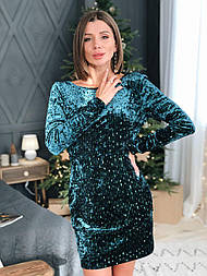 Женское  платье с открытой спиной  из мраморного бархата с пайеткой на подкладке