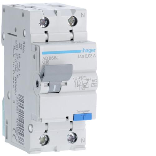 Дифференциальный автоматический выключатель Hager (ДАВ) 1P+N 4.5kA C-16A 30mA AC (AD866J)