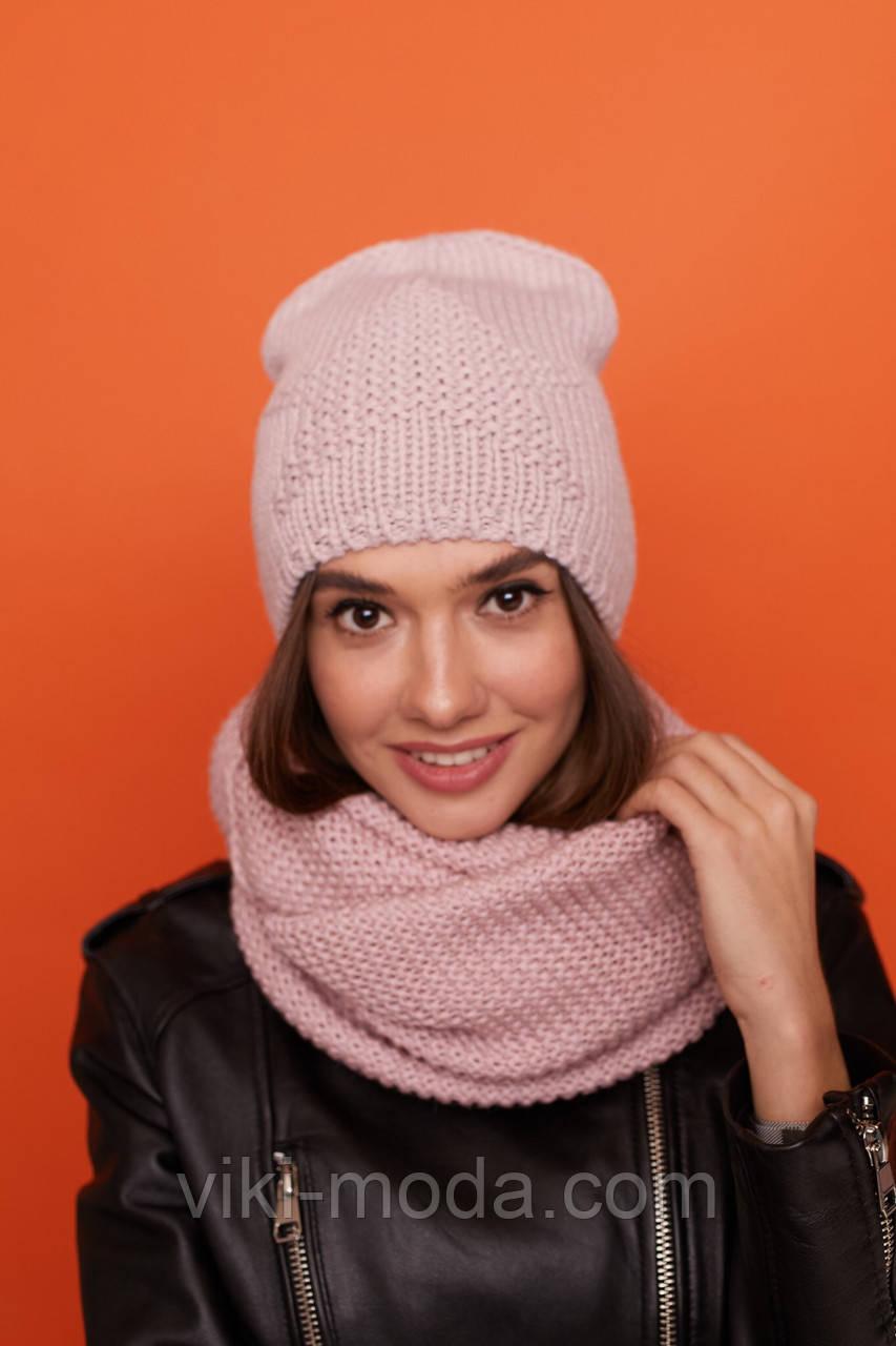 Молодежный головной набор шапка и снуд - восьмерка, розового цвета