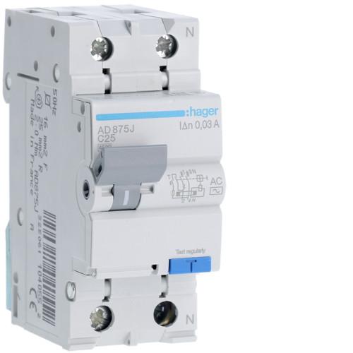 Дифференциальный автоматический выключатель Hager (ДАВ) 1P+N 4.5kA C-25A 30mA AC (AD875J)