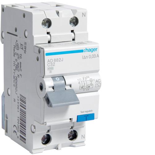 Дифференциальный автоматический выключатель Hager (ДАВ) 1P+N 4.5kA C-32A 30mA AC (AD882J)