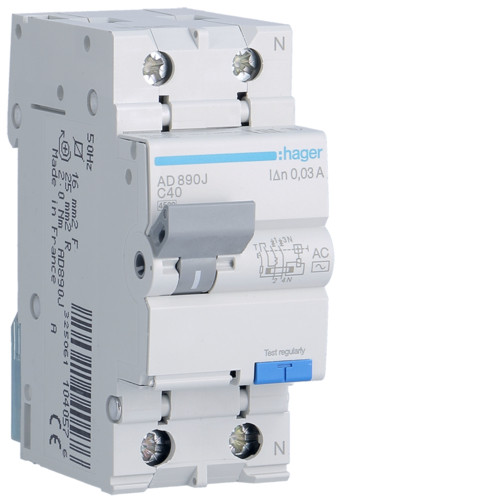 Дифференциальный автоматический выключатель Hager (ДАВ) 1P+N 4.5kA C-40A 30mA AC (AD890J)