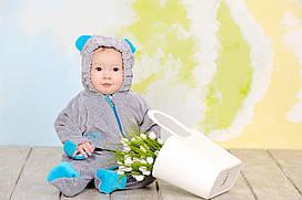 Велюровый комбинезон утепленный 'My baby' для новорожденных, слингокомбинезон