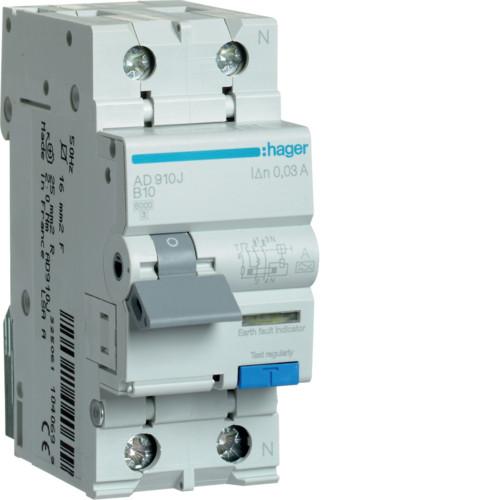 Дифференциальный автоматический выключатель Hager (ДАВ) 1P+N 6kA B-10A 30mA A (AD910J)