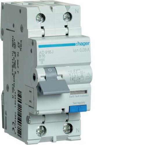 Дифференциальный автоматический выключатель Hager (ДАВ) 1P+N 6kA B-16A 30mA A (AD916J)