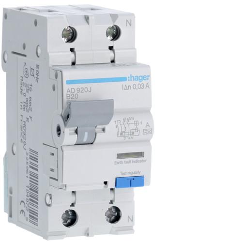 Дифференциальный автоматический выключатель Hager (ДАВ) 1P+N 6kA B-20A 30mA A (AD920J)