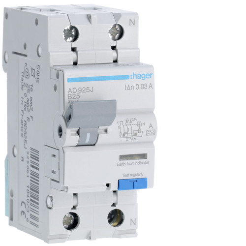 Дифференциальный автоматический выключатель Hager (ДАВ) 1P+N 6kA B-25A 30mA A (AD925J)