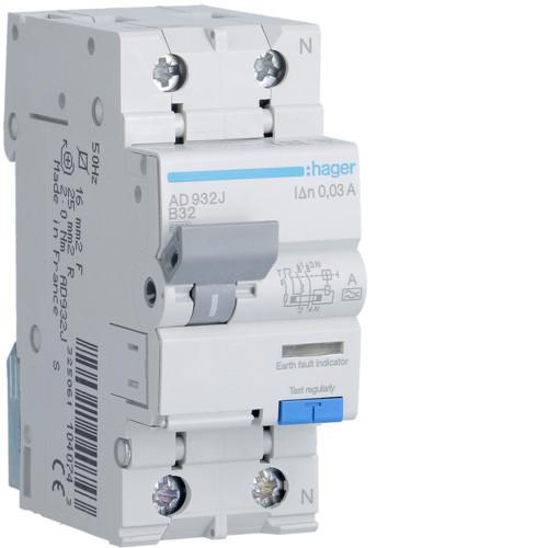 Дифференциальный автоматический выключатель Hager (ДАВ) 1P+N 6kA B-32A 30mA A (AD932J)
