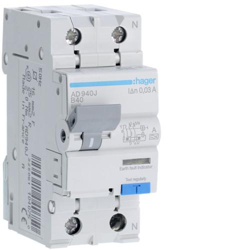 Дифференциальный автоматический выключатель Hager (ДАВ) 1P+N 6kA B-40A 30mA A (AD940J)