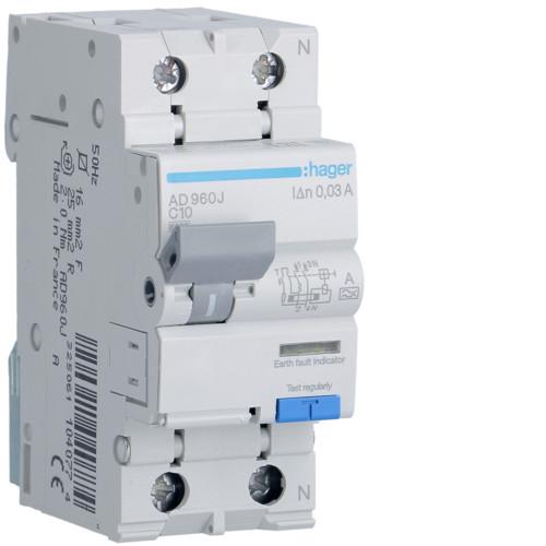 Дифференциальный автоматический выключатель Hager (ДАВ) 1P+N 6kA C-10A 30mA A (AD960J)