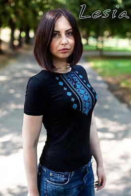Жіноча футболка Орнамент синій