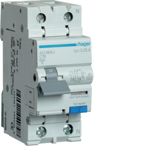 Дифференциальный автоматический выключатель Hager (ДАВ) 1P+N 6kA C-16A 30mA A (AD966J)
