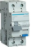 Дифференциальный автоматический выключатель Hager (ДАВ) 1P+N 6kA C-20A 30mA A (AD970J)