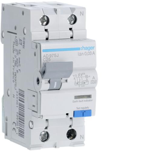 Дифференциальный автоматический выключатель Hager (ДАВ) 1P+N 6kA C-25A 30mA A (AD975J)