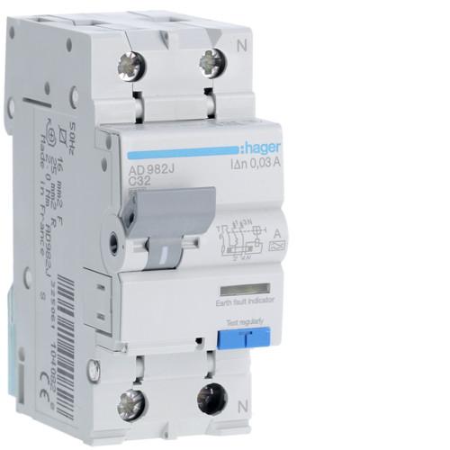 Дифференциальный автоматический выключатель Hager (ДАВ) 1P+N 6kA C-32A 30mA A (AD982J)