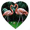 Пазл в форме сердца - Влюбленные фламинго 190х190 мм