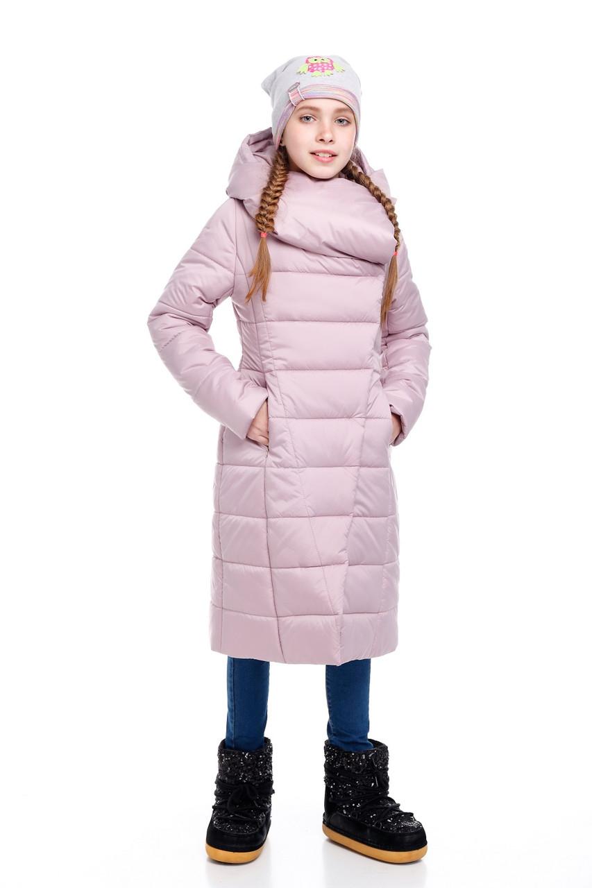 Детский зимний пуховик для девочки  на синтепухе без меха, внутри флис Комильфо |122-158р.