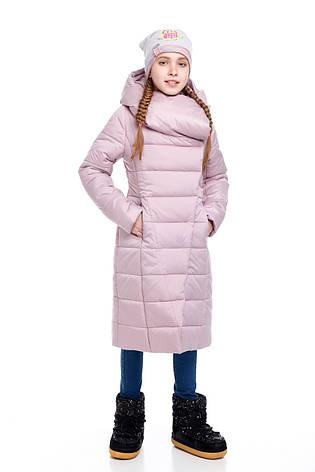 Детский зимний пуховик для девочки  на синтепухе без меха, внутри флис Комильфо |122-158р., фото 2