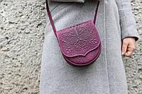 Кожаная женская сумка, сумка через плечо, мини сумочка, фиолетовая