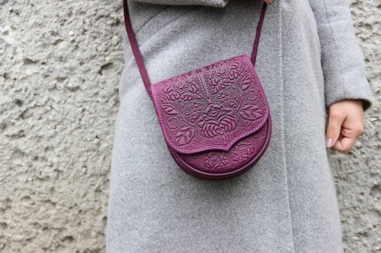 Кожаная женская сумка, сумка через плечо, мини сумочка, фиолетовая, фото 1
