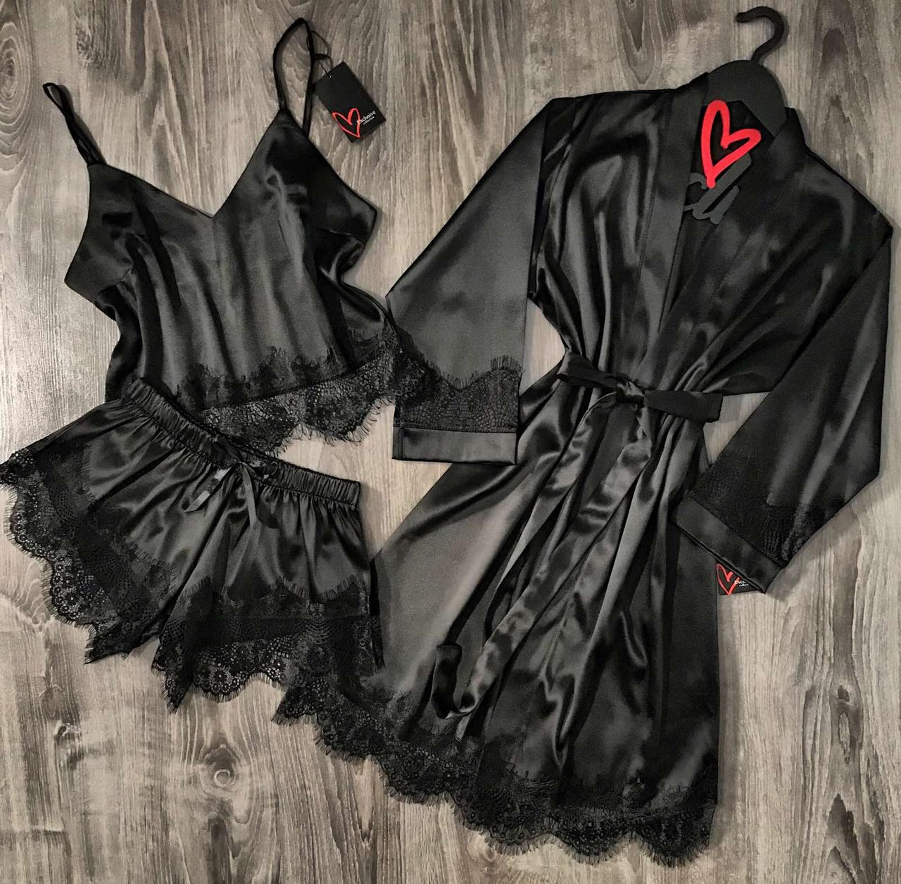Черный шелковый комплект халат и пижама с кружевом.