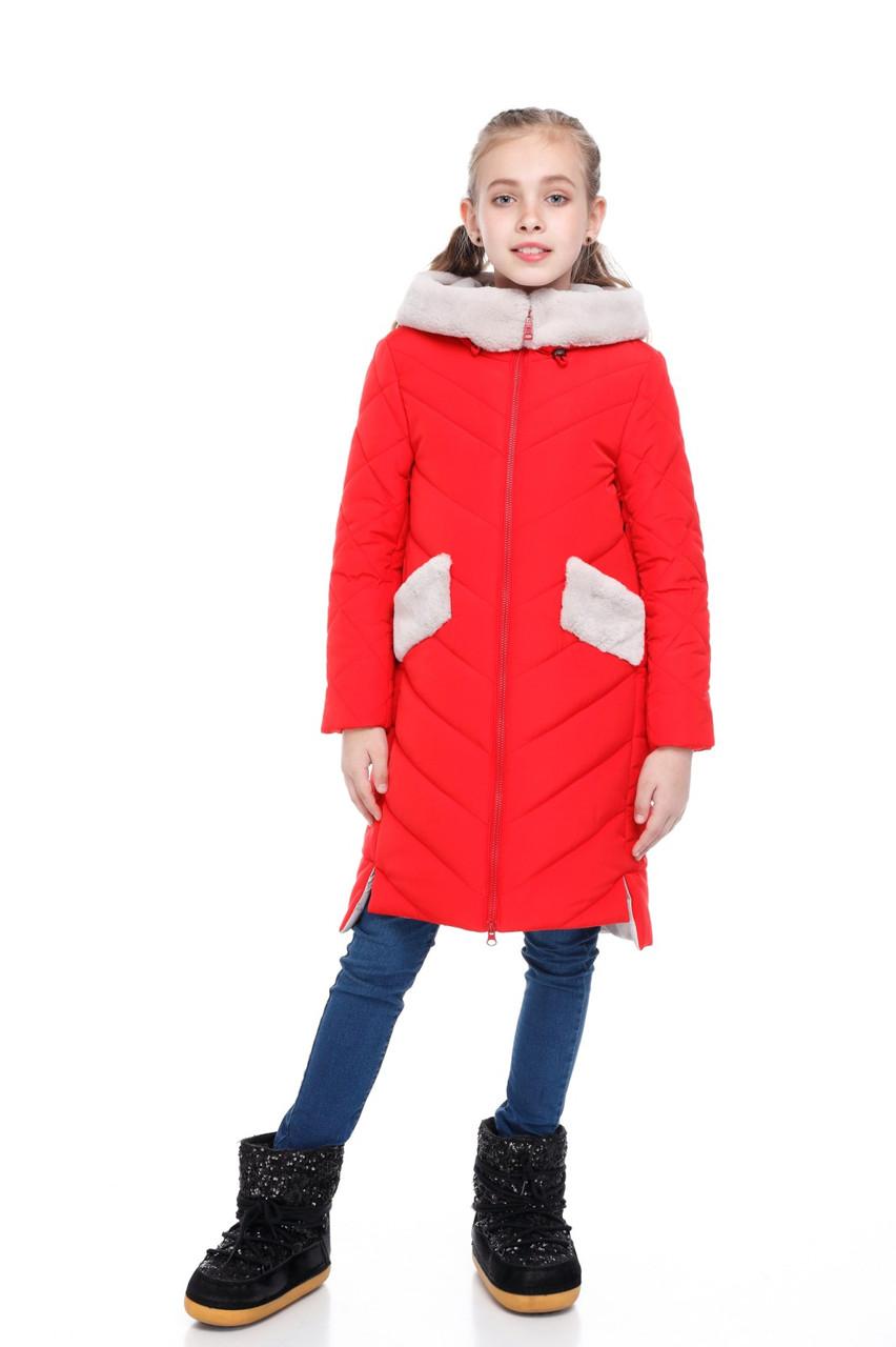 Детское зимнее пальто для девочки  на синтепухе, мех ис. кролик, внутри флис Монтана |122-158р.