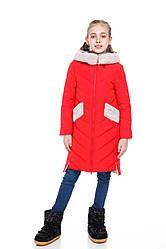 Детское зимнее пальто для девочки  на синтепухе, мех ис. кролик, внутри флис Монтана  122-158р.