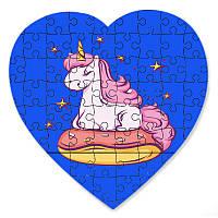 Пазл у формі серця - Єдиноріг зоряні мрії 190х190 мм