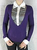 Джемпер с рубашкой 9788 ассорти, фото 1