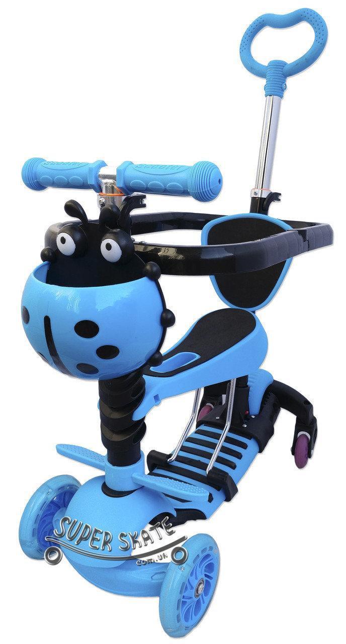 Дитячий Самокат Беговел scooter 5 в 1 - Print - З батьківською ручкою і обмежувачем