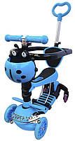 Детский Самокат Беговел scooter 5 в 1 - Print- С родительской ручкой и ограничителем