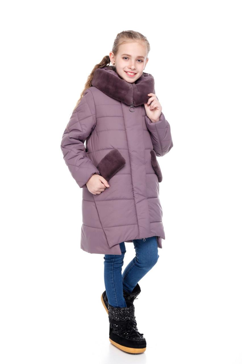 Детское зимнее пальто для девочки  на синтепухе, мех ис. кролик, внутри флис Юта |122-158р.