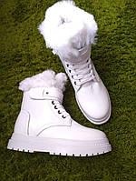 Женские Белые Зимние Лаковые Ботинки с опушкой, фото 1