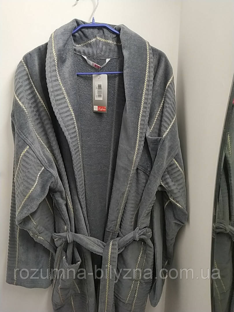 Халат чоловічий сірого кольору. ТМ De Lafense 4XL