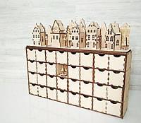 Деревянный адвент-календарь, рождественский календарь с декором на 31 день натурального цвета