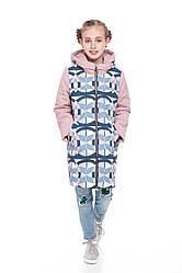 Детское зимнее пальто для девочки  на синтепухе, внутри флис Веста |122-158р.
