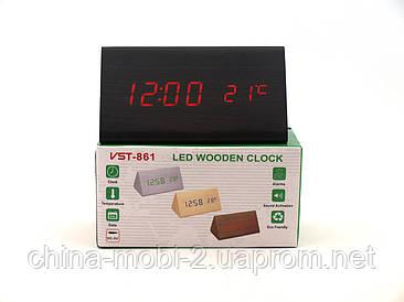 VST861 Годинники настільні цифрові, чорні з червоними цифрами