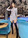 Платье из переливающего трикотажа с вырезом - каплей и юбкой на запах 71py399, фото 4