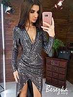 Платье с пайетками с верхом на запах, длинным рукавом и асимметричной юбкой 66py409Е