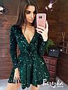 Платье из пайетки на велюре с пышной юбкой, длинным рукавом и верхом на запах 66py412Е, фото 4